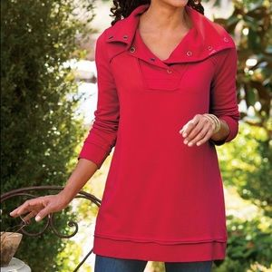 Soft Surroundings red snap collar pullover